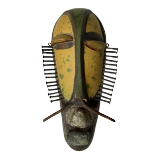 Alvino Bagni Italian Pottery Tribal Mask Sculpture For Sale