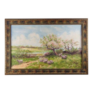 Vintage Pastoral Landscape Painting With Sheep For Sale