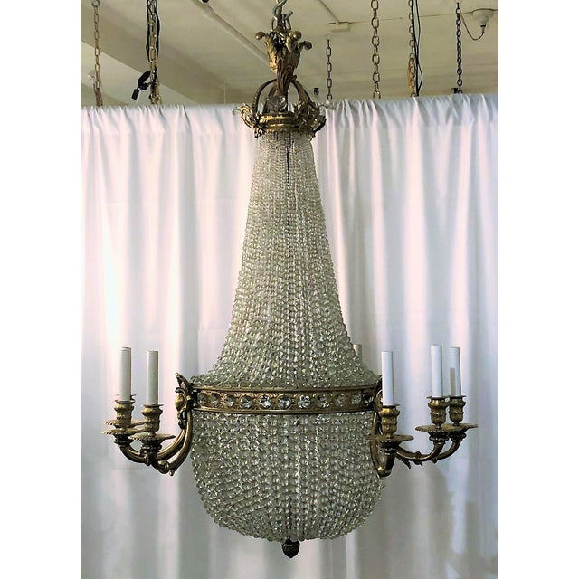 Incredible antique french ormolu and richly beaded chandelier circa antique french ormolu and richly beaded chandelier circa 1900 image 3 of 3 audiocablefo