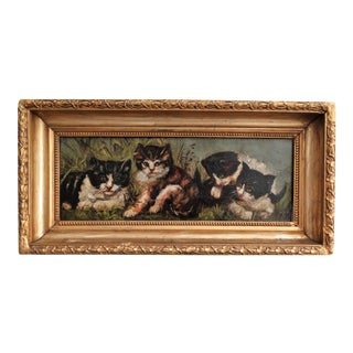 C. 1900 Kittens Portrait Oil on Canvas Painting