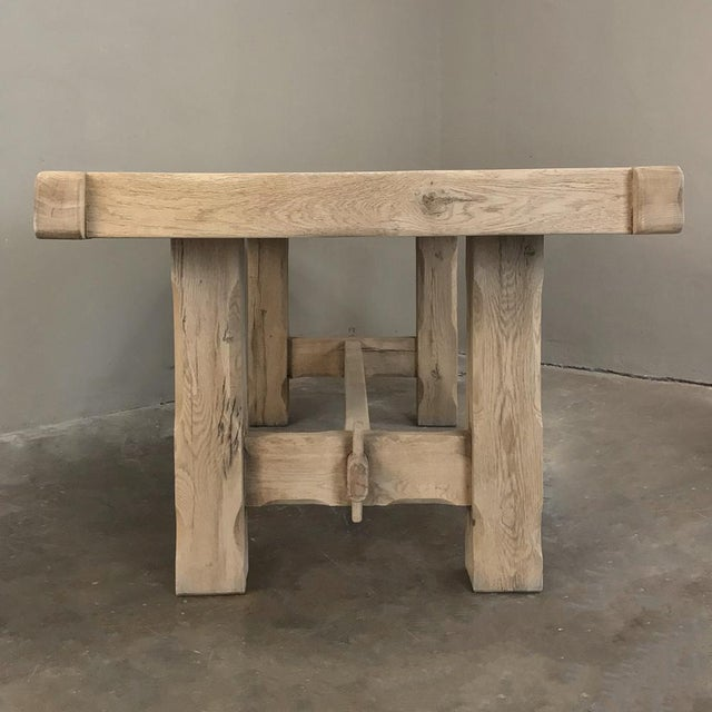 Brown Antique Grand Rustic Stripped Oak Dining Table For Sale - Image 8 of 11