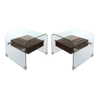 Glass Waterfall Side Tables W/ Wooden Drawers-A Pair For Sale
