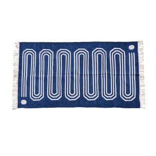 Starwort Rug, 6x9, Blue & White For Sale