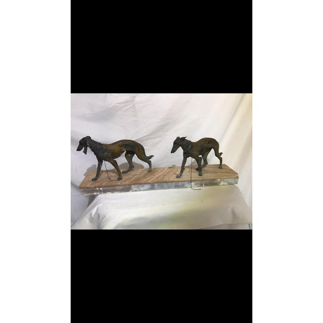 Art Deco Metalware Walking Hounds on Marble Base - Image 2 of 11