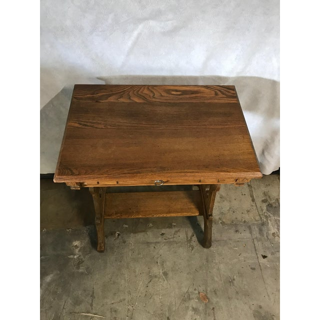 Early 20th century oak trestle table/desk, Eastlake look. Could be used as a craftsman also. Features pegged drawers