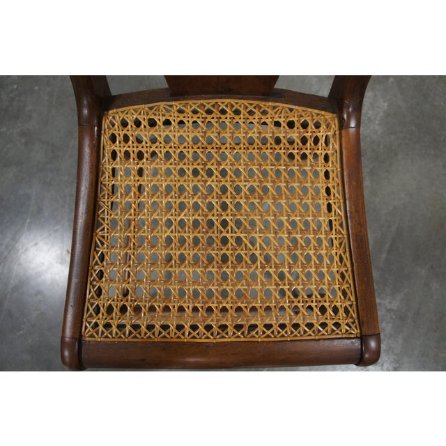 Mid 19th Century Antique Crotch Walnut Federal Empire Cane Seat Dining Side Chairs- Set of 4 For Sale - Image 11 of 12