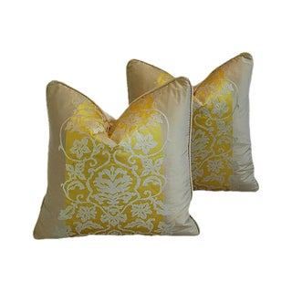 Custom Tailored Italian Bergamo Silk/Velvet Feather/Down Pillows - Pair For Sale
