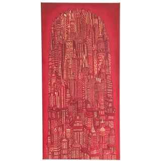 "Alexis Duque ""Red Tower"" NYC Buildings Reimagined Metropolis Acrylic Painting For Sale"