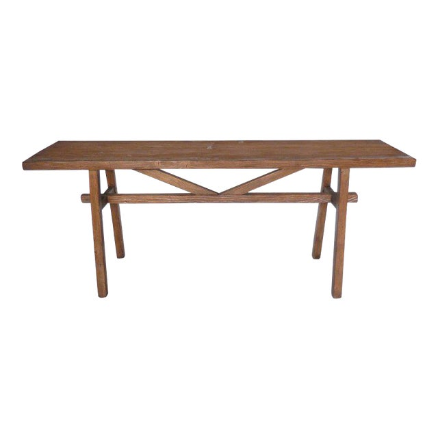 Reclaimed Wood Console with High V Stretcher by Dos Gallos Studio For Sale