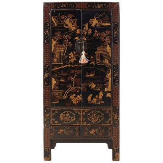 Chinese Export Parcel Gilt Lacquered Wedding Cabinet Chest For Sale