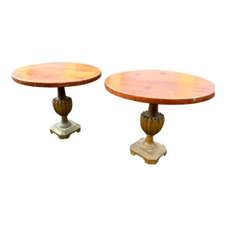 Pair Traditional Art Deco Low Accent Side Tables For Sale