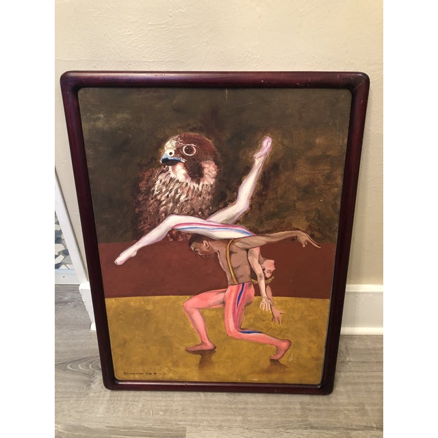"""Brown 1990s """"Dancers with Hawk"""" Surrealist Style Figurative Painting, Framed For Sale - Image 8 of 8"""