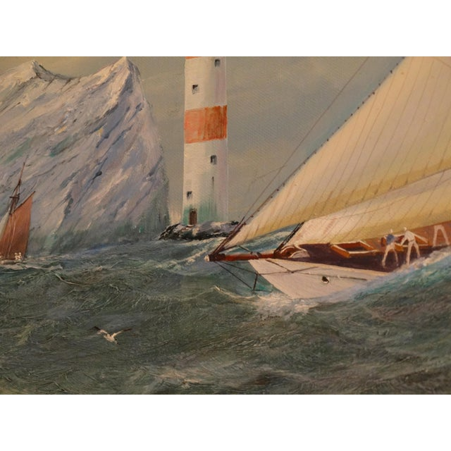 Nautical Yacht Racing Oil on Canvas, Michael Whitehand For Sale - Image 10 of 12