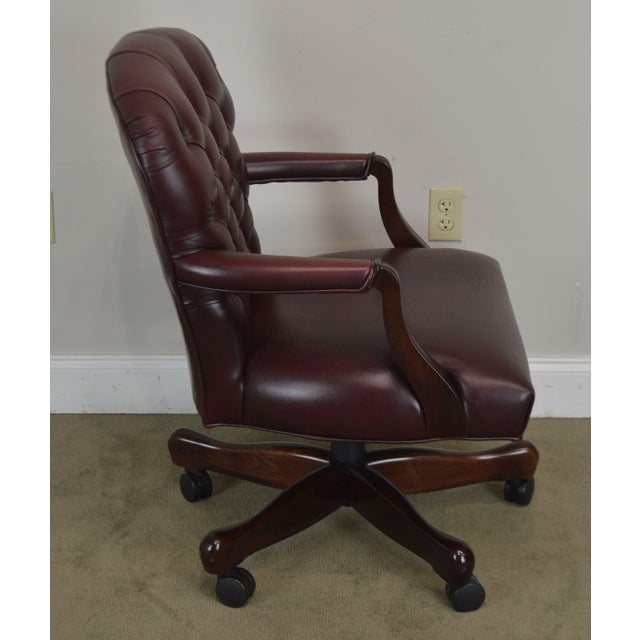 Paoli Chair Company Oxblood Red Leather Tufted Chesterfield Style Executive Office Desk Chair (E) For Sale - Image 4 of 13