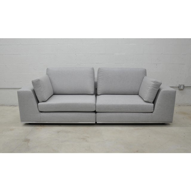 Contemporary Gray Modular Sectional Sofa and Ottoman For Sale In Miami - Image 6 of 13
