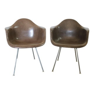 Herman Miller Eames Molded Fiberglass Seal Brown Dax Arm Shell Chairs