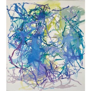 """Elizabeth Gilfilen """"Sound-Site #4"""", Colorful Abstract Painting on Paper For Sale"""