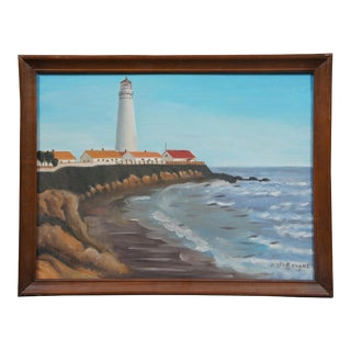 1983 Lighthouse with Coastal Landscape Oil Painting by Flo Evans, Framed For Sale