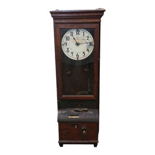 Antique Time Clock With Quarter Sawn Oak Case For Sale