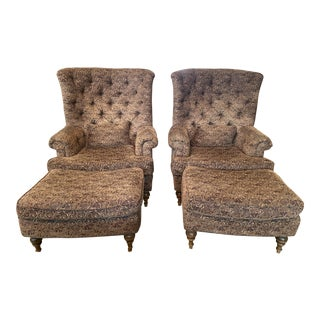 Large Custom Made Accent Chairs - A Pair For Sale