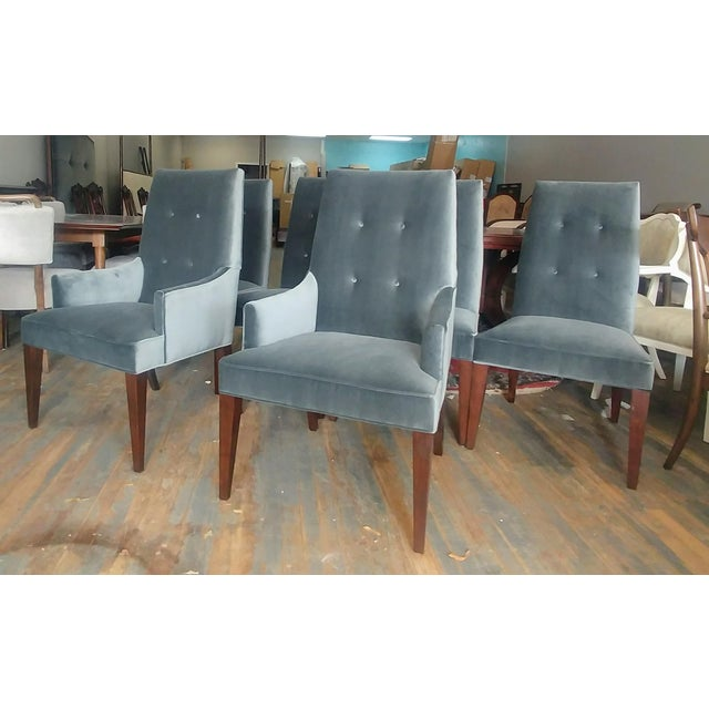Henredon Furniture Barbara Barry Slate Grey Velvet Dining Chair Set(6) in Walnut Sale includes one complete dining chair...