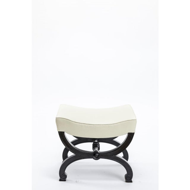 Maison Jansen refined black lacquered carved wood stool.