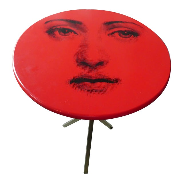 Vintage Fornasetti Red Julia Side Table For Sale