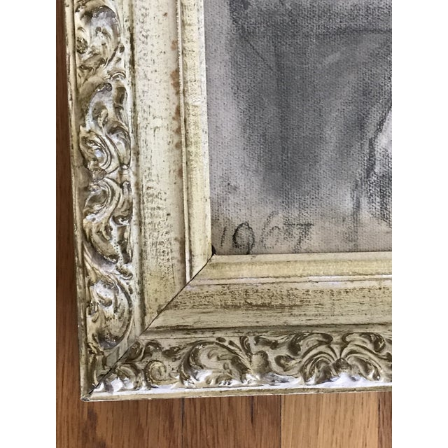 Mid-Century Framed Charcoal Nude Sketch For Sale - Image 9 of 10