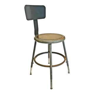 Vintage Industrial Metal Drafting Stool by InterRoyal