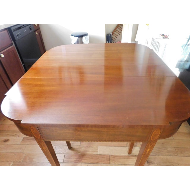 Antique Demi-Lune Mahogany Marquetry Extension Dining Table For Sale - Image 10 of 11