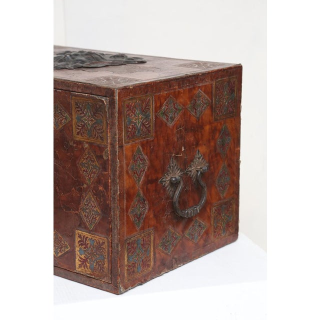 Tooled Leather Spanish Bargueno Traveling Chest For Sale In Houston - Image 6 of 8