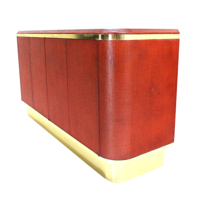 Grass Cloth Brass Credenza or Cabinet or Sideboard Red Brick Color For Sale