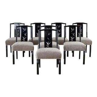 Set of Eight James Mont Lacquered Dining Chairs For Sale
