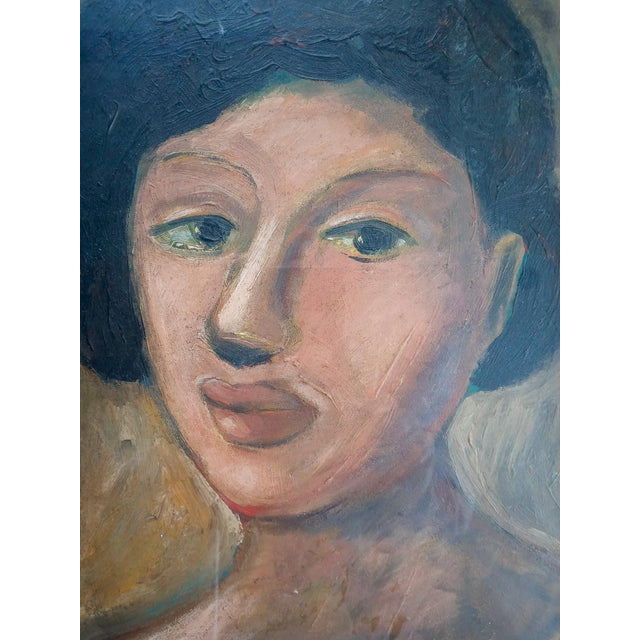 Mid-Century Modern Mid 20th Century Portrait of a Woman Oil Painting, Framed For Sale - Image 3 of 7