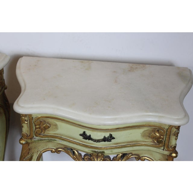Italian 1950s Italian Marble Top Nightstands - a Pair For Sale - Image 3 of 8