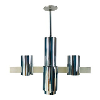 1960s Mid-Century Modern Chrome Chandelier by Gaetano Sciolari, Italy For Sale