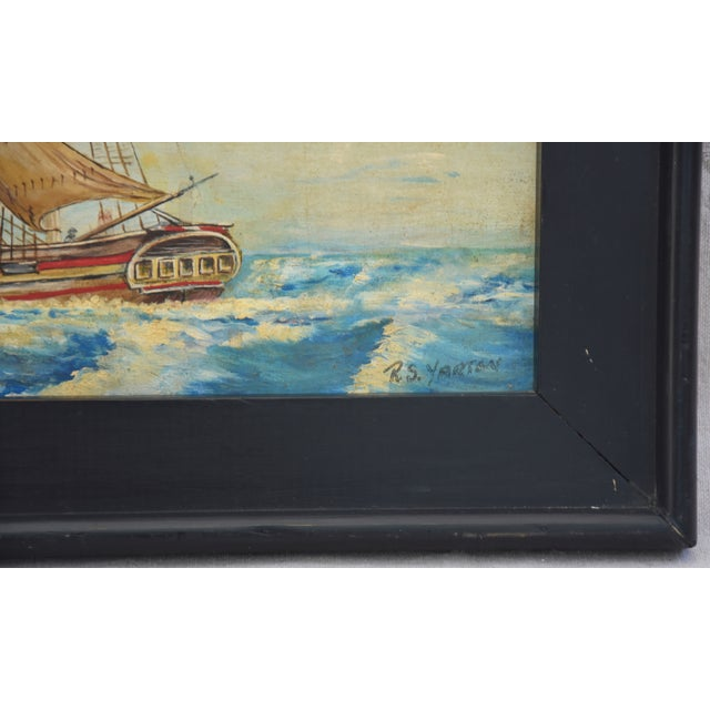 Framed 1940s Sailing Ship Oil Painting - Image 3 of 11