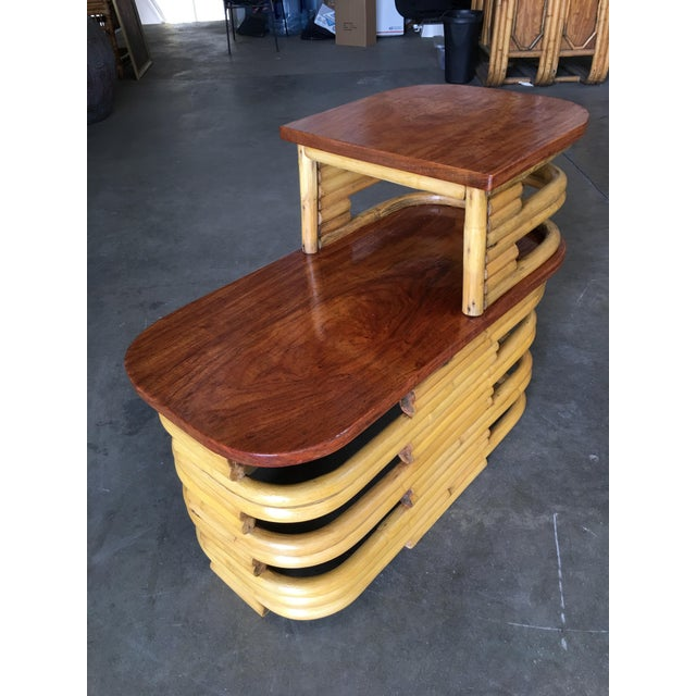 Art Deco Stacked Rattan Side Table With Cut Outs - a Pair For Sale - Image 3 of 9