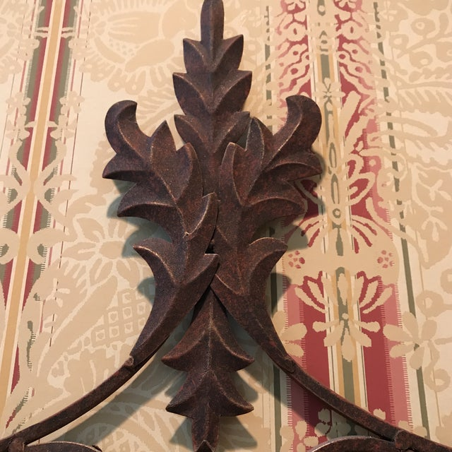 Late 20th Century 20th Century Art Nouveau Bronze Scrolled Wall Candleholder For Sale - Image 5 of 9
