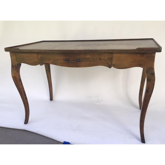 Louis XV Provincial Style Stained Wood Single Drawer Bureau Plat For Sale In New York - Image 6 of 6