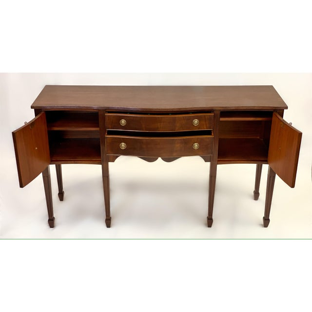 Late 19th Century 1890's Antique English Sheraton Style Mahogany Sideboard For Sale - Image 5 of 10