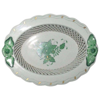 Herend Green Chinese Bouquet Open Weave Mini Basket For Sale