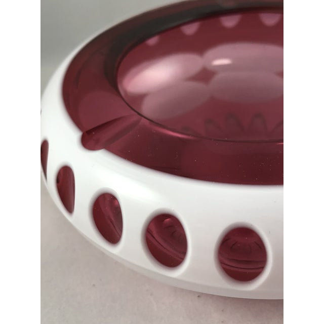 Art Deco Art Deco Bohemian Ashtray in Cranberry and Opaque White Hand Cut Glass For Sale - Image 3 of 11