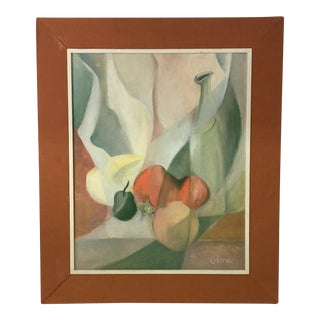 Mid-Century Abstract Oil on Board of Fruit and Water