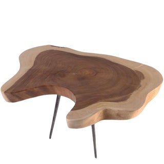 Organic Modern Half Moon Living Edge Accent Table For Sale