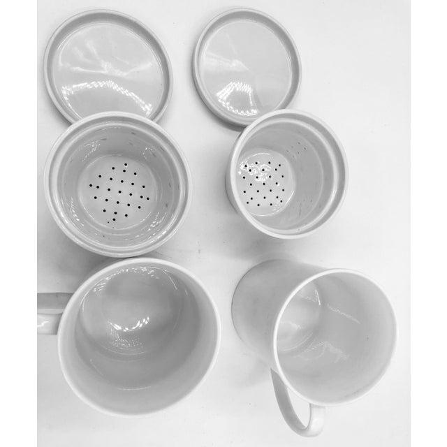 Ceramic Japanese Ceramic Porcelain White Tea Leaf Cups a Pair Set of Two 2 Lid Infuser Strainer Builtin Antique Vintage For Sale - Image 7 of 7