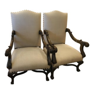 English Antique Carved Walnut Arm Chairs - A Pair