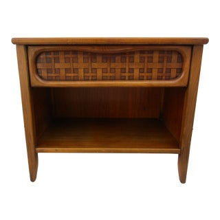 Mid-Century Modern Lane Furniture Nightstand With Woven Rattan Panel For Sale