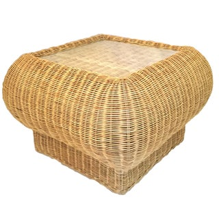 Boho Chic Wicker Coffee Table For Sale