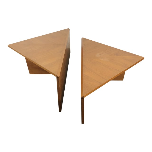Danish Laurits M Larsen Teak Triangle Coffee Tables - a Pair For Sale
